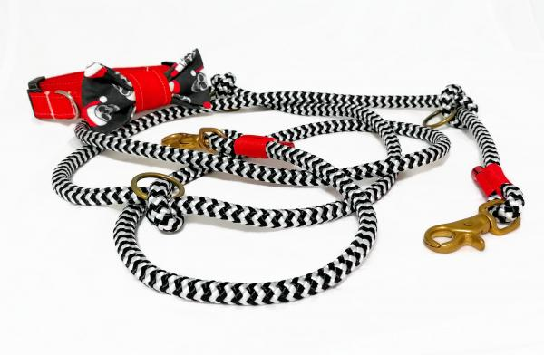 Dog Collar and Rope Leash - Dead santa meets Black'n'White