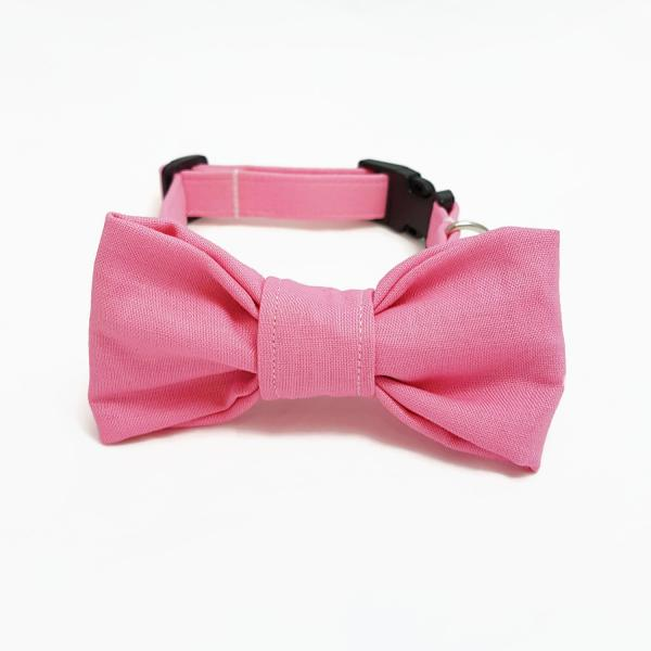 Dog Collar with Bow Tie - Light Pink