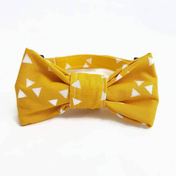 Dog Collar with Bow Tie - Triangle - Sunny Yellow