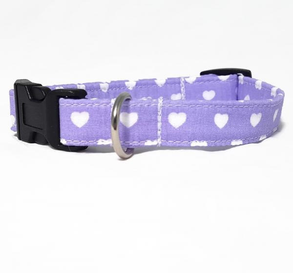 Dog Collar - Hearts -  Lilac