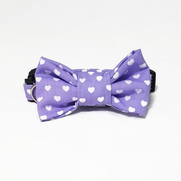 Dog Collar with Bow Tie - Hearts - lilac