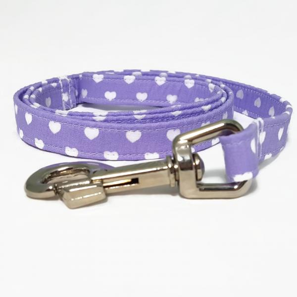 Handmade Dog Leash - Hearts - Lilac