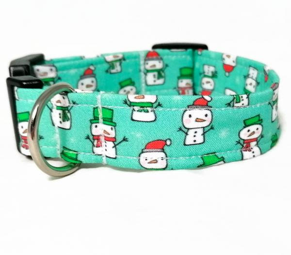 Dog Collar with Bow Tie - Snowmen - Aqua