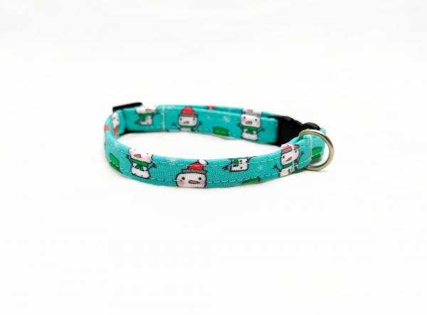 Cat Collar - Snowmen - Aqua