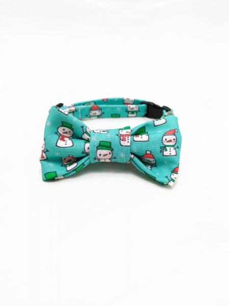 Cat Collar With Bow Tie - Snowman - Aqua