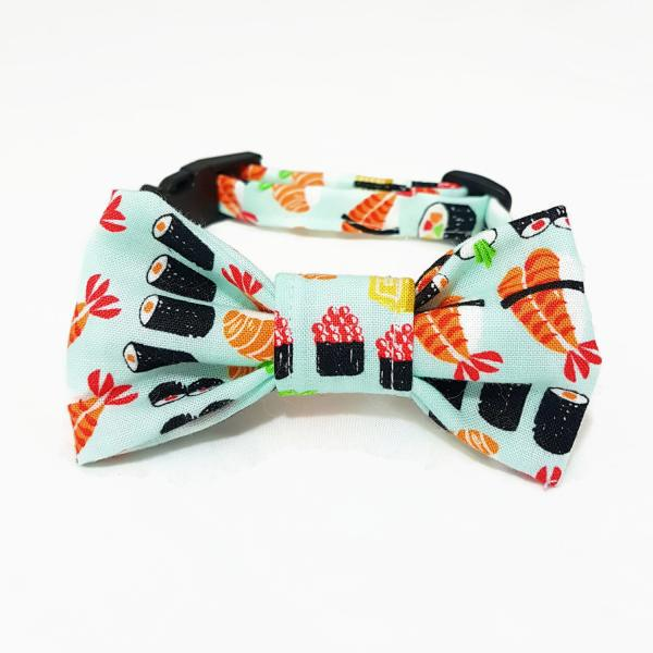 Cat Collar With Bow Tie - Sushi