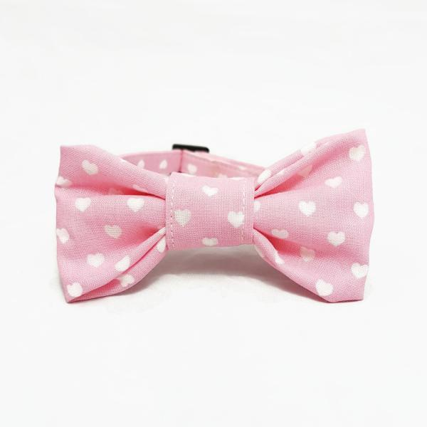 Cat Collar With Bow Tie - Hearts - Light Pink