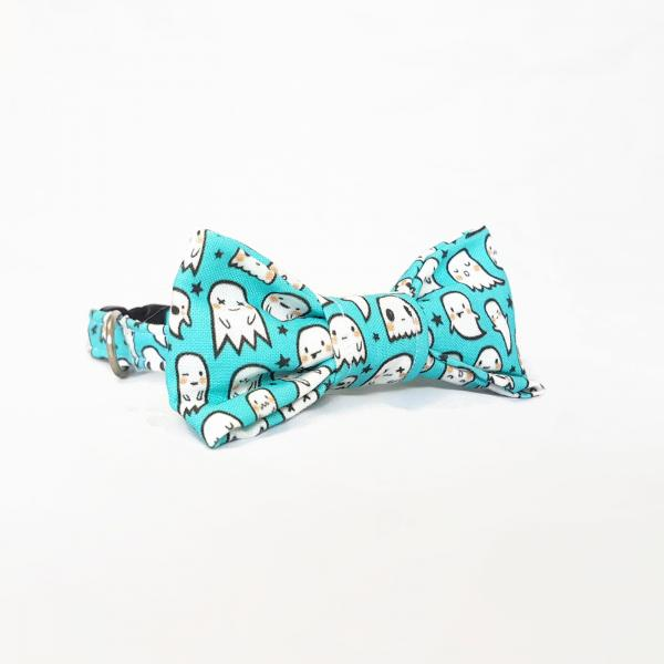 Cat Collar With Bow Tie - Little Ghost