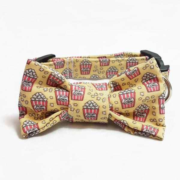 Dog Collar with Bow Tie - Popcorn