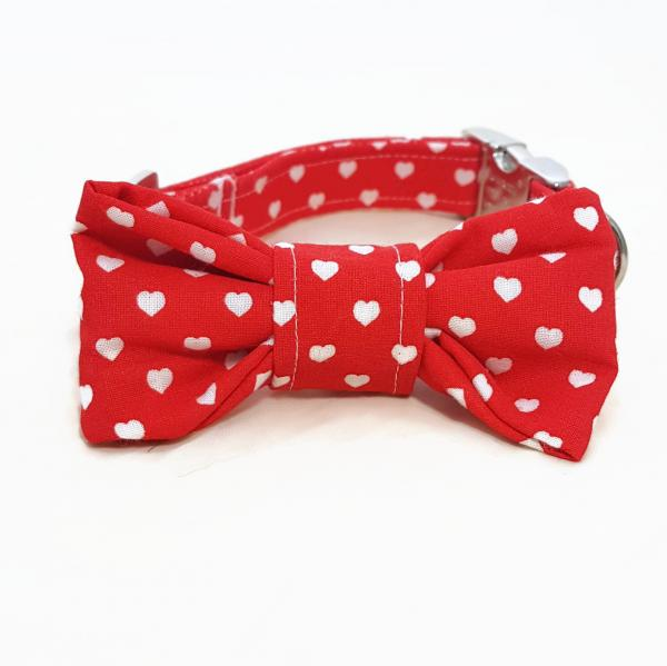 Dog Collar with Bow Tie - Hearts - Red