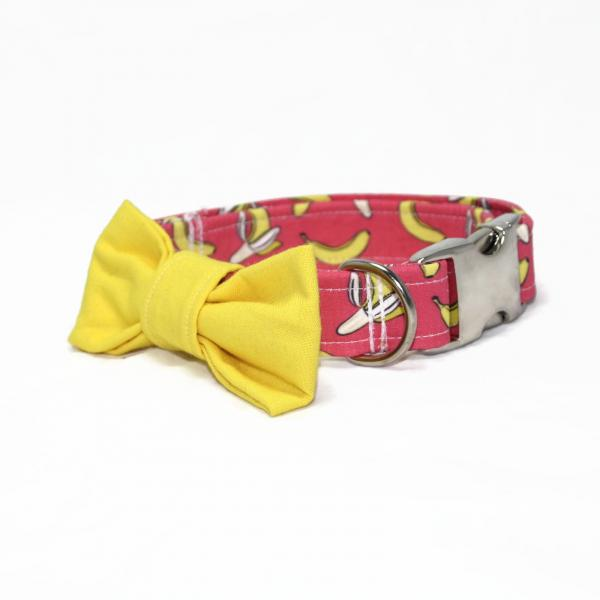 Dog Collar with Bow Tie - Banana