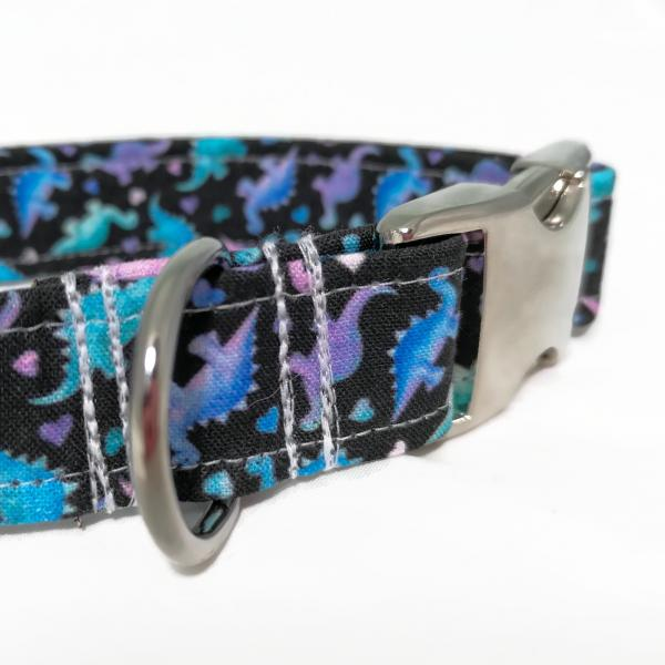 Dog Collar and Rope Leash - Dinosaur In Love x Mystic Purple
