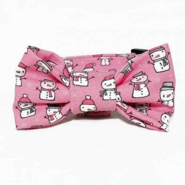 Dog Collar with Bow Tie - Snowmen - Light Pink