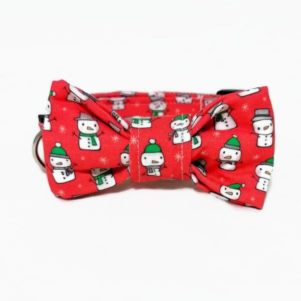 Dog Collar with Bow Tie - Snowmen - Red