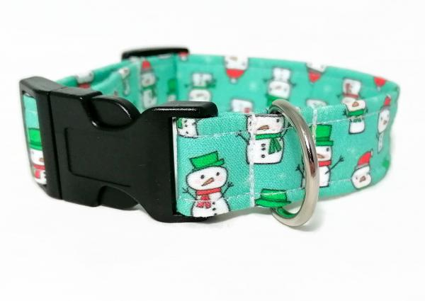 Dog Collar - Snowmen - Aqua