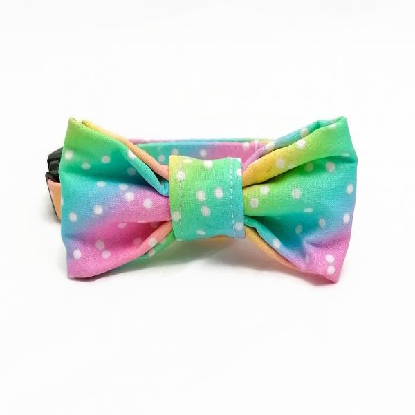 Dog Collar with Bow Tie - Rainbow Dots
