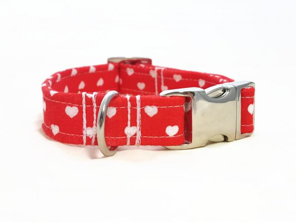 Dog Collar - Hearts -  Red