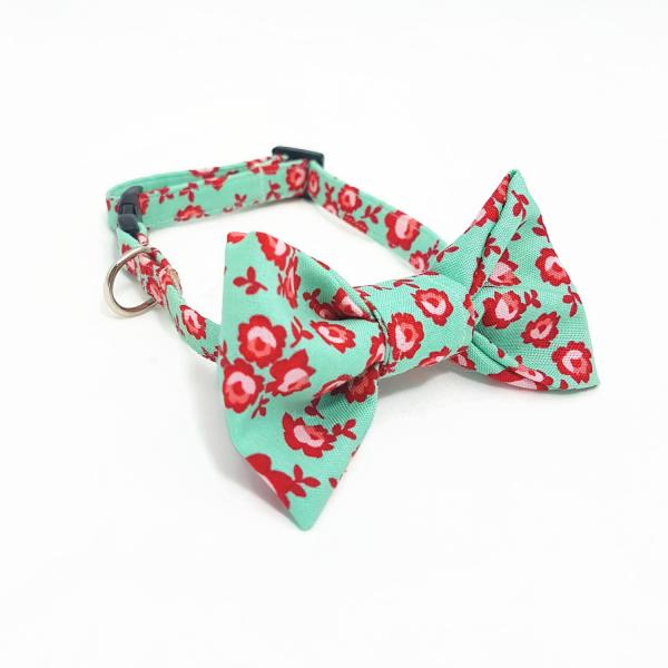 Cat Collar With Bow Tie - Rose Garden