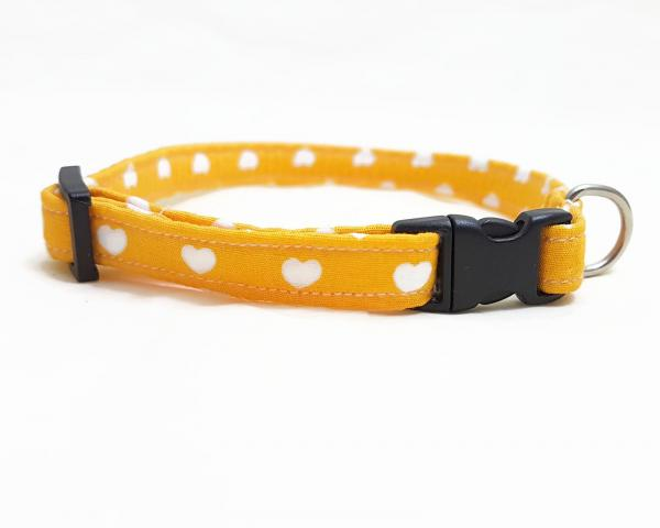 Cat Collar With Bow Tie - Hearts - Yellow