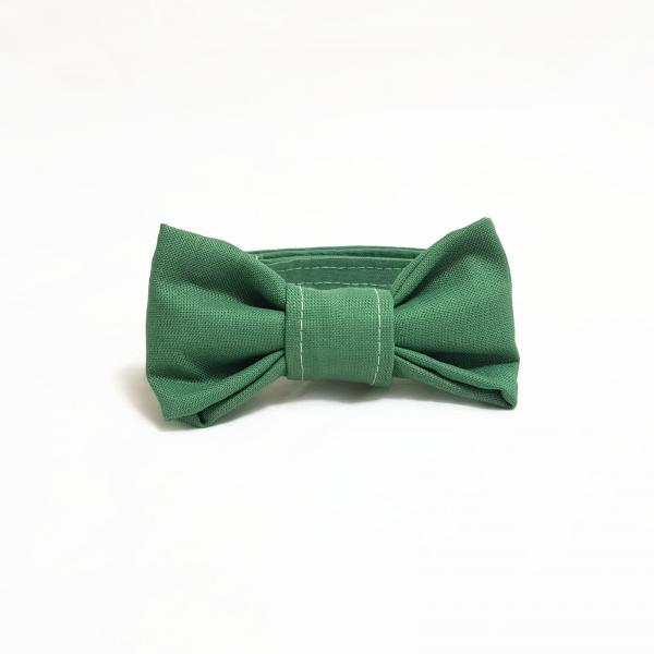 Cat Collar With Bow Tie - Olive Green