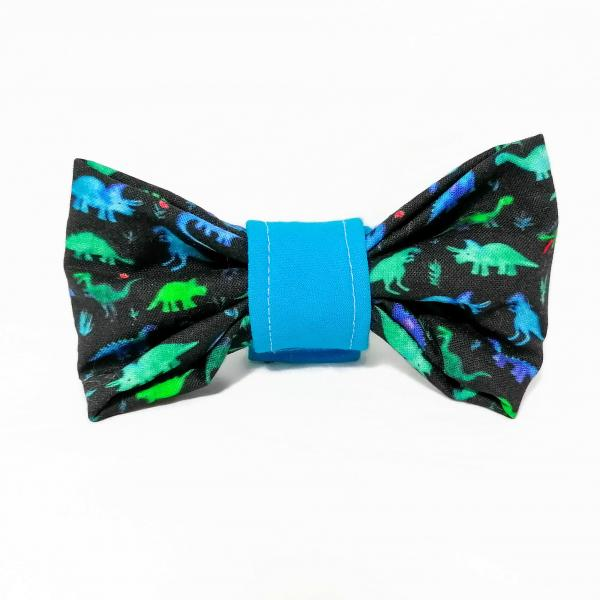 Dog Collar with Bow Tie - Dinosaur - Green/Blue